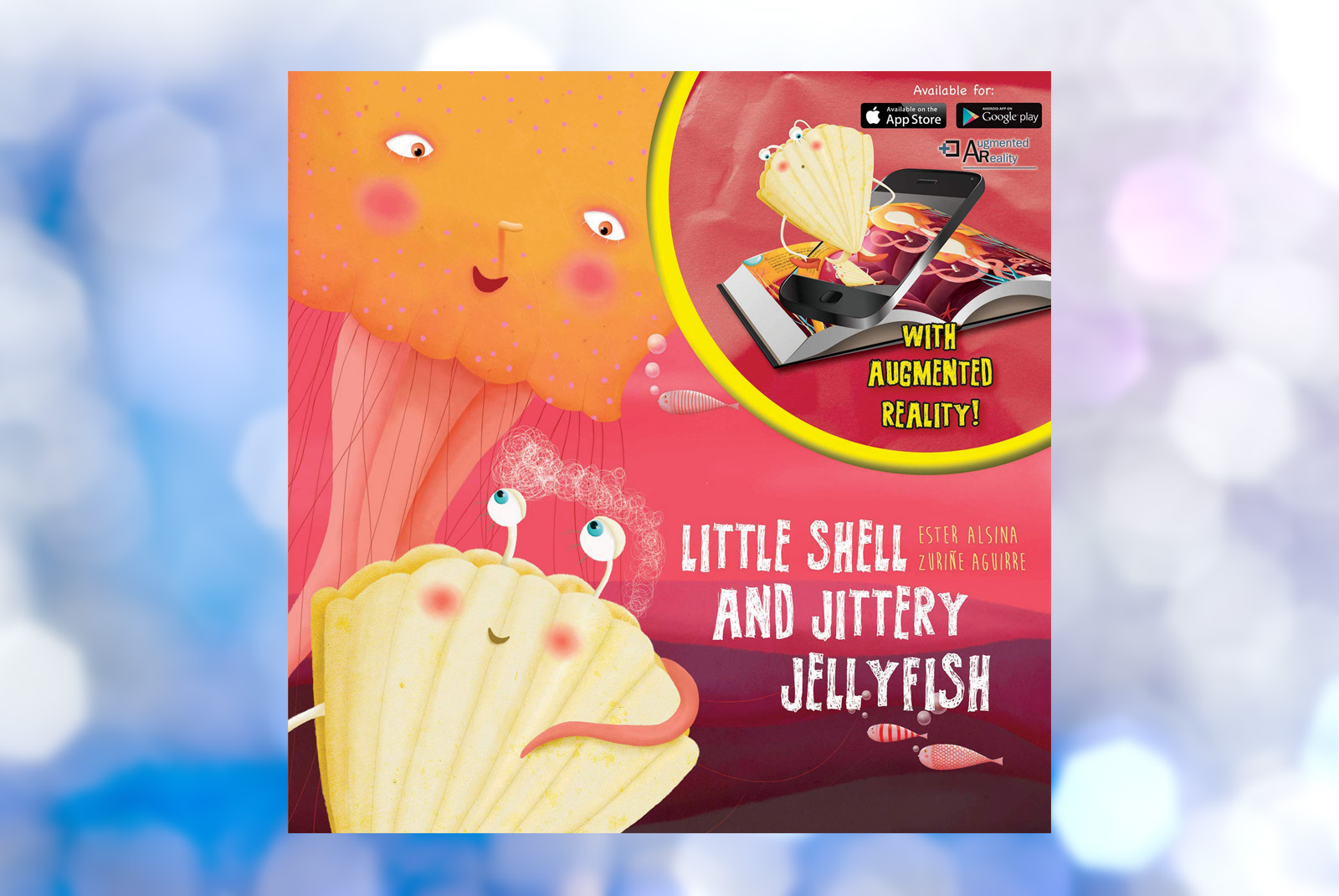 Seashell and Jellyfish on a Red Book Cover