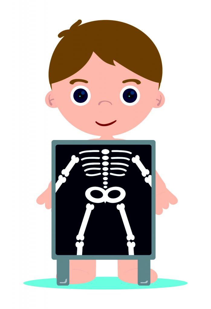 cartoon of a boy getting an X-Ray
