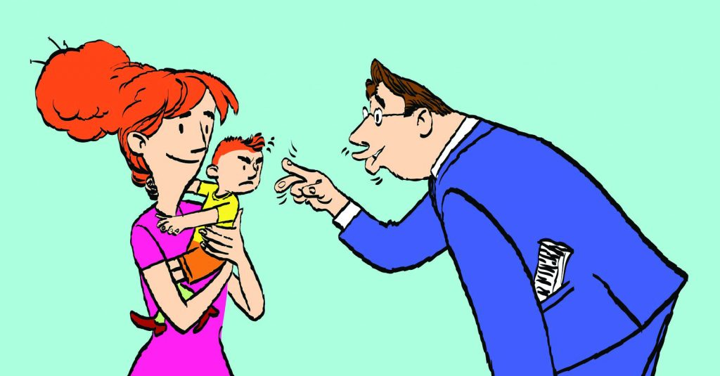 cartoon of a woman holding her baby and man waving at the child