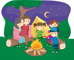 Famliy around a campfire