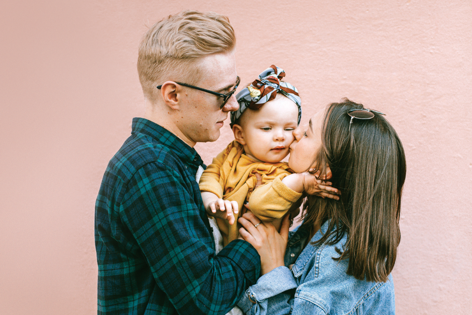 Man, woman and baby